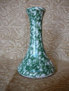 Roseville Spongeware Green Bud Vase by Gerald E by JulianosCorner, - SOLD