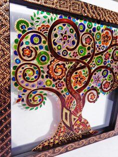 Tree of life art glass painting