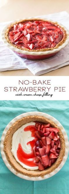 No-Bake-Strawberry-Pie-with-Cream-Cheese-Filling (strawberry icebox cake with cool whip) Easy Strawberry Pie, Strawberry Recipes, Strawberry Summer, Strawberry Cream Cheese Pie, Strawberry Shortcake, Easy Pie Recipes, Cooking Recipes, Dishes Recipes, Cooking Games