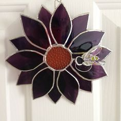 Stained Glass Flower Suncatcher Purple with a by ILoveStainedGlass