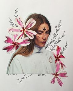 The entire series of flower collages by katy edling / foundbykaty. Photography Illustration, Photo Illustration, Art Photography, Medical Illustration, Fashion Photography, Flower Collage, Collage Art, Collages, Fashion Collage