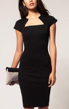 Elegant Square Collar Cap Sleeve Sheath Dress Black | Closet ...