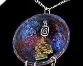 Bismuth Crystal Pendant, Beautiful colors, Bismuth Cup With Crystal In The Middle. New Age Jewelry