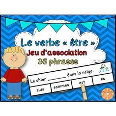 Le verbe être - jeu d'association - 35 phrases French Verbs, French Grammar, Classroom Games, Classroom Language, Classroom Ideas, Summer Homework, Core French, French Classroom, French Resources