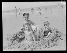 Kids & dog at the beach by Leslie Jones, c. 1950- this is scary- could be me, Bud & Anne !