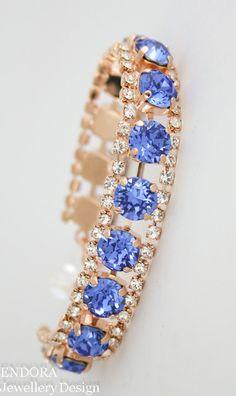 Swarovski Sapphire bracelet | Blue bridal bracelet | rose gold sapphire bracelet | wedding jewelry | sapphire bracelet | birthstone jewelry | September birthstone | www.endorajewellery.etsy.com