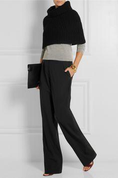 Derek Lam caplet. Miu Miu Sweater. Maiyet pants. Victoria Beckham clutch.