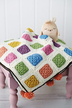 ao with <3 / add some pompoms / ravelry: sherbet dip blanket pattern by nicki trench