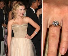 Pin for Later: The Very Best Celebrity Engagement Rings Scarlet Johansson Scarlett Johansson sported a large three-carat diamond, estimated to be worth $30K, following Ryan Reynolds's Spring 2008 proposal.
