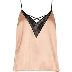 River Island Pink satin lace cami pyjama top ($20) ❤ liked on Polyvore featuring v neck cami, lace camis, pink lace cami, lacy cami and strappy v neck cami