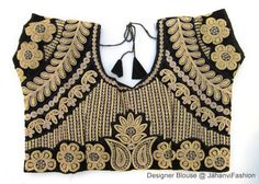 Black Embroidery Blouse Sari Blouse Saree by JahanviFashionShop