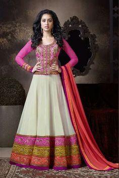 Dazzling Shraddha Kapoor Georgette Pink,White Suit