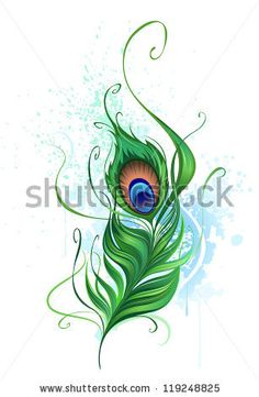 stock vector : Arts painted a colorful peacock feather on a white background stained watercolor paint.