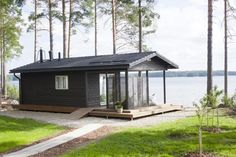 Sauna by the lake, Finland Minimalist House Design, Small House Design, Prefab Cottages, Tyni House, Caravan Home, Building A Cabin, Summer Cabins, Backyard Bar, Cottage Plan