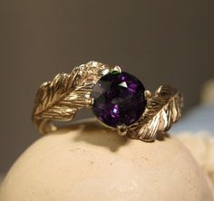 14k gold Wax cast Engagement ring Leaf Ring  Wiccan by phbeads, $640.00