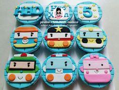 Robocar poli design fondant cupcakes #paulineshomemademalacca