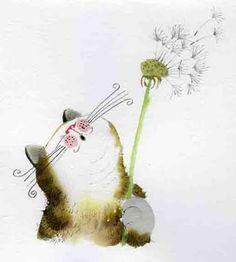 Qué bonita y tierna ilustración de gato. Para quienes gustan de los felinos: @Alejandro de Onís Reza @Toño Chico