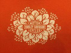 Harley Davidson Motorcycle Womens Baltimore Shirt Medium Orange Sparkle Flower #HarleyDavidson #KnitTop #Casual