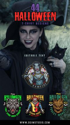 Colorful Halloween t-shirt designs with editable text are available for personal and commercial use on our website.