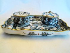 Fine Meissen Porcelain Exotic Bird Flowers Inkwell Desk Tray 19th Century