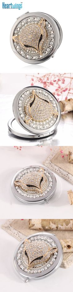 Engrave words free,bling rhinestone sexy fox,Mini Beauty pocket compact mirror makeup mirror,wedding party bridesmaid gifts