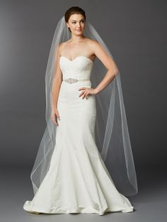 Chapel or Floor Length One Layer Cut Edge Bridal Veil in Ivory