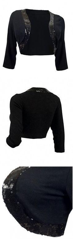 67423dfe3c750 EVogues Plus Size Sequin Trim 3 4 Sleeve Cropped Bolero Shrug Black - 3X.  Women s Fashion Magazine