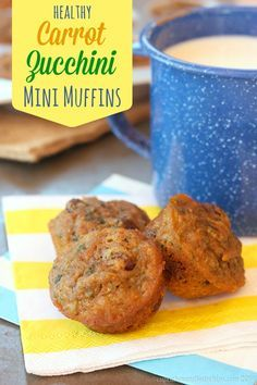 Healthy Carrot Zucchini Mini Muffins are a yummy breakfast or snack for you or the kids with an extra dose of vegetables