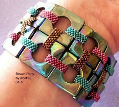 Using polymer clay to make this kind of bracelet instead of expensive Swarovvski squares both lowers the cost & opens up pattern possibilities.