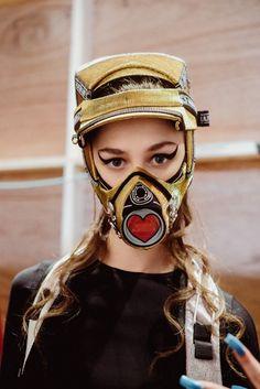Love heart gas mask headwear and feline flicks at Nasir Mazhar AW14 NYFW. More images at: http://www.dazeddigital.com/fashionweek/womenswear/aw14