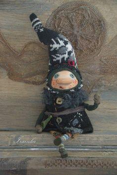 Купить Гном Валерка - темно-серый, гном, гномик, коллекционная кукла, коллекционная игрушка, для интерьера