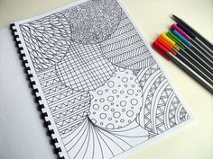 Abstract Art Coloring Pattern, Zentangle Inspired Printable Coloring Page, Page 23. $2.00, via Etsy.