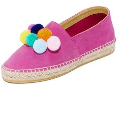 ONE By South Parade Footwear Pom Pom Espadrilles (4,210 INR) ❤ liked on Polyvore featuring shoes, sandals, leather platform sandals, low platform sandals, platform espadrille sandals, braided sandals and leather espadrilles