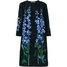 Alice Archer Constantina Floral Silk Coat (86.760 CZK) ❤ liked on Polyvore featuring outerwear, coats, colorful coat, silk coat, blue coat, embroidered coat and floral coat