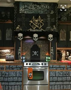 """Cool (and cheap) way to decorate a kitchen using the black weed liner found at garden/diy store and """"scene setter"""" wall decor found at most party shops or online."""