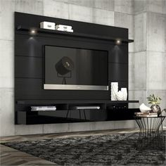 Manhattan Comfort Cabrini Theater Panel Collection TV Stand with Drawers Floating Wall Theater Entertainment Center, L x D x H, Black Wall Mount Entertainment Center, Entertainment Room, Rack Grande, Home Para Tv, Farmhouse Tv Stand, Tv Stand Designs, Tv Panel, Floating Wall, Wall Mounted Tv