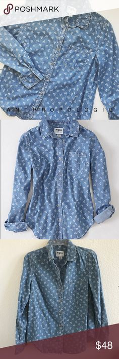 "• Anthro Holding Horses dots & dahlias buttondown Anthropologie Holding Horses dots and dahlias denim button down! So simple and comfortable and easy to dress up or down! 24"" long 18"" bust 23"" arm Anthropologie Tops Button Down Shirts"