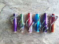 Capped focal lampwork beads with dichroic extract & silvered glass by Jayne LeRette of BadgerBeads