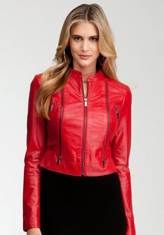 bebe   Cali Cropped Leather Jacket - View All