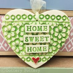 Ceramic heart hanging decoration Pottery Heart  Home Sweet Home Flower pattern £9.00 Handmade Decorative Items, Handmade Crafts, World 7, Earthenware Clay, Flower Patterns, Gift Guide, Sweet Home, Pottery, Ceramics