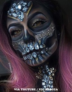 Halloween makeup inspiration incorporating faux gems applied with spirit gum. Find more ideas for Halloween makeup with pink hair at Star Style Wigs. Click the image for full article. Sfx Makeup, Makeup Art, Makeup Ideas, Puppet Makeup, Makeup Brushes, Movie Makeup, Dead Makeup, Makeup Style, Makeup Tools