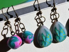 #summer #earrings #fimo Pendant Necklace, Drop Earrings, Stone, Summer, Jewelry, Fimo, Rock, Summer Time, Jewlery