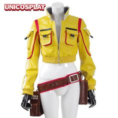Buy US $17.49  Final Fantasy XV Cindy Aurum Jacket Cosplay Costumes FF15 Woman Yellow PU leather Jackets Tool Bag Gloves Halloween Uniform   . Search here: Leather Bomber Jacket.