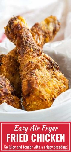 Juicy Air Fryer Fried Chicken is made with only 3 Tbsp butter but full of flavor and really easy to make. So tender and juicy inside and crispy on the outside. You have to try this easy Air Fryer Recipe! Air Fryer Oven Recipes, Air Fry Recipes, Air Fryer Dinner Recipes, Fun Easy Recipes, Cooking Recipes, Air Fryer Fried Chicken, Air Fried Food, Cooks Air Fryer, Food To Make