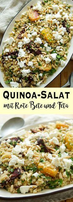 Ein einfaches Rezept für einen gesunden Quinoa-Salat mit Rote Bete und Feta. Trotz des Röstens der Bete braucht das ganze Rezept weniger als eine Stunde. Der Salat ist eine leckere Beilage, die Ihr auch noch am nächsten Tag genießen könnt. Er ist glutenfrei und kann ohne den Fetakäse auch vegan gemacht werden. Elle Republic