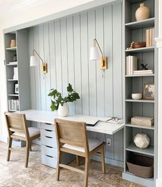 Gray Home Offices, Home Office Space, Home Office Design, Home Office Decor, House Design, Home Decor, Desk Space, Kids Office, Interior Office