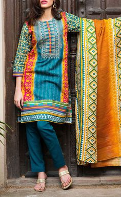 Buy Teal Blue/Mustard Embroidered Khaddar Salwar Kameez by Khaadi 2015 Call: (702) 751-3523 Email: Info@PakRobe.com www.pakrobe.com #WINTER #SALWAR #KAMEEZ https://www.pakrobe.com/Women/Clothing/Buy-Winter-Salwar-Kameez-Online