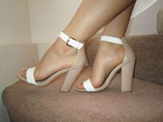 Details about Nude White Barely There Ankle Strap Chunky Heels Sandals Size UK 4 EU 37 US 7 - Nude White Barely There Ankle Strap Chunky Heels Sandals Size UK 4 EU 37 US 7