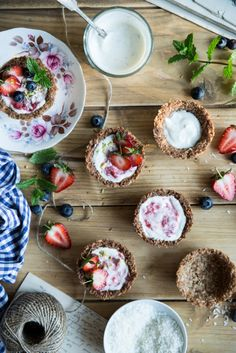 Coconut cups with strawberries & yogurt