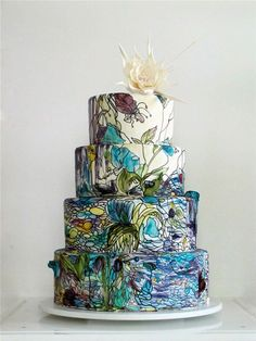 gorgeous hand painted stained glass effect wedding cake